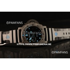 PAM00960 Submersible All Carbon Fiber Black Dial Blue Marker Rubber Strap Cal. P9010 1:1 Clone (KW)