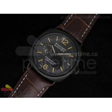 Radiomir Black Seal Automatic PVD Black Dial on Brown Leather Strap A21J